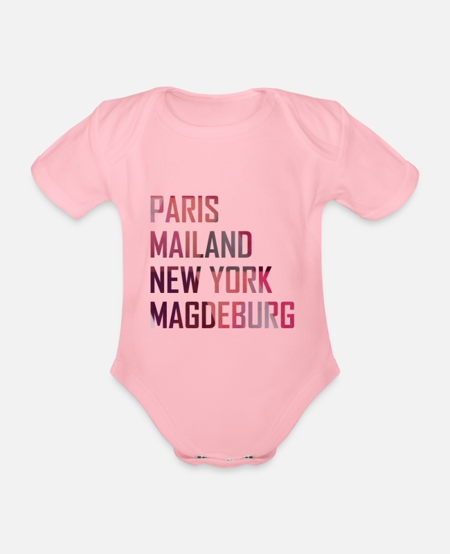 Travel Baby Bodysuits - Magdeburg - Organic Short-Sleeved Baby Bodysuit light pink