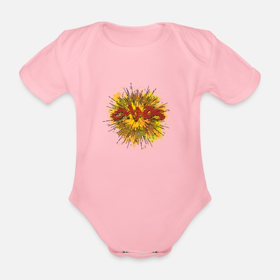Chaos Baby Clothes - chaos - Organic Short-Sleeved Baby Bodysuit light pink