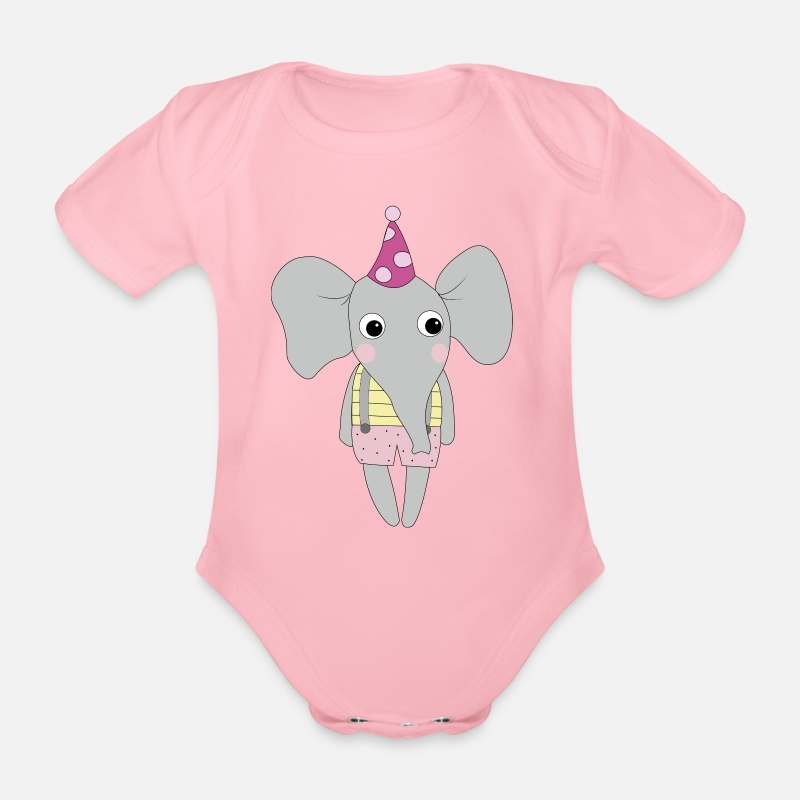 Bestsellers Q4 2018 Baby Clothing - Elephant without balloon - Short-Sleeved Baby Bodysuit light pink