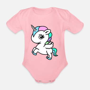 Unicorno Colourful Unicorn - Body ecologico per neonato a manica corta