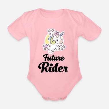 Horse Young rider riding rider horses riding - Organic Short-Sleeved Baby Bodysuit