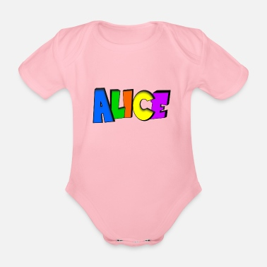 Alice In Wonderland Alice - Baby bio-rompertje met korte mouwen