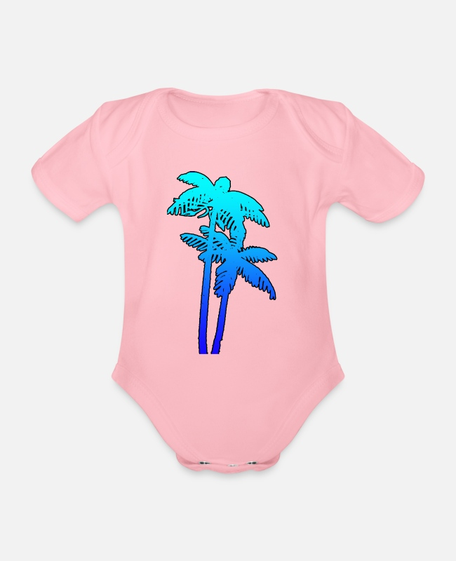 Water Baby Bodysuits - PALMS - Organic Short-Sleeved Baby Bodysuit light pink