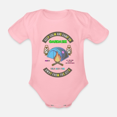 Keep Calm And Camp On Lake Garda - Organic Short-Sleeved Baby Bodysuit