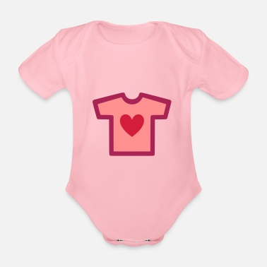 Shape Underwear ★ Design colors changeable ★ T-shirt with heart - Organic Short-Sleeved Baby Bodysuit