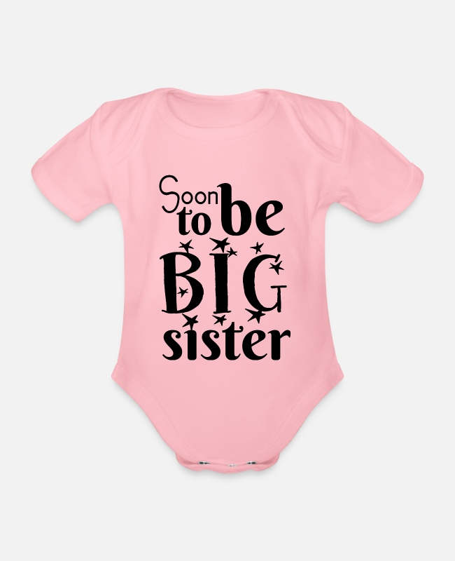 Pregnancy Baby Bodysuits - Soon big sister - Organic Short-Sleeved Baby Bodysuit light pink