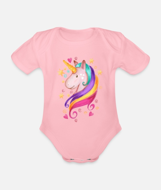 Proud Baby Bodysuits - Magical Unicorn - Organic Short-Sleeved Baby Bodysuit light pink