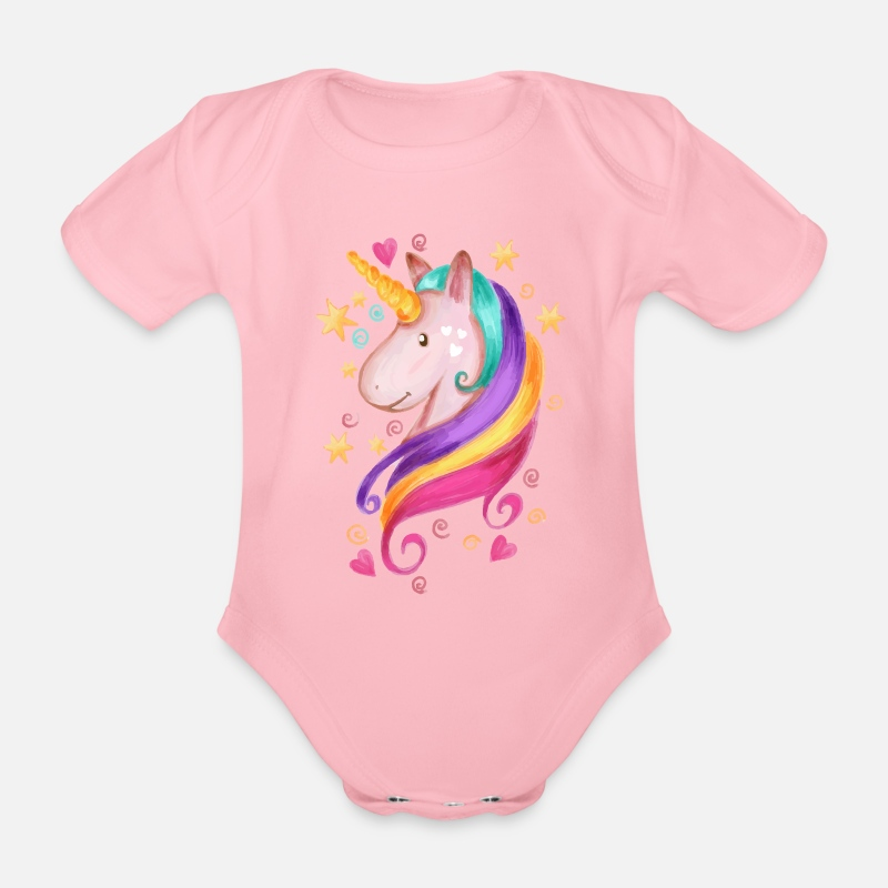 New Baby Baby Clothing - Magical Unicorn - Organic Short-Sleeved Baby Bodysuit light pink
