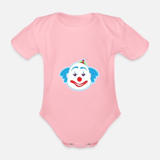 Birthday Baby Clothes - funny clown plants fruits vegetables kids motifs - Organic Short-Sleeved Baby Bodysuit light pink