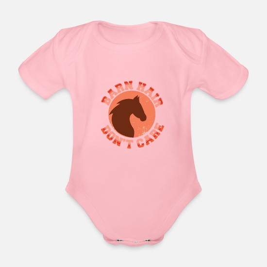 Horse Baby Clothes - STALL HAIR ME EGAL HORSES SHIRT FOR GIRLS! - Organic Short-Sleeved Baby Bodysuit light pink