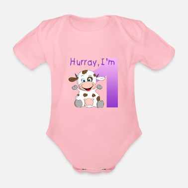 Cows First Birthday - Baby's Birthday Gift - Organic Short-Sleeved Baby Bodysuit