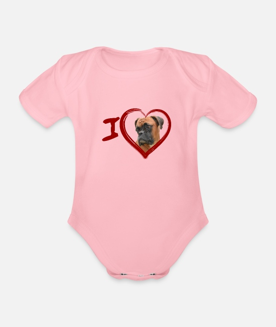 Heart Baby Bodysuits - Boxer (Painting - Painting) - Organic Short-Sleeved Baby Bodysuit light pink