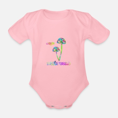 Magic Magic Mushrooms / Psychedelic mushrooms - Organic Short-Sleeved Baby Bodysuit