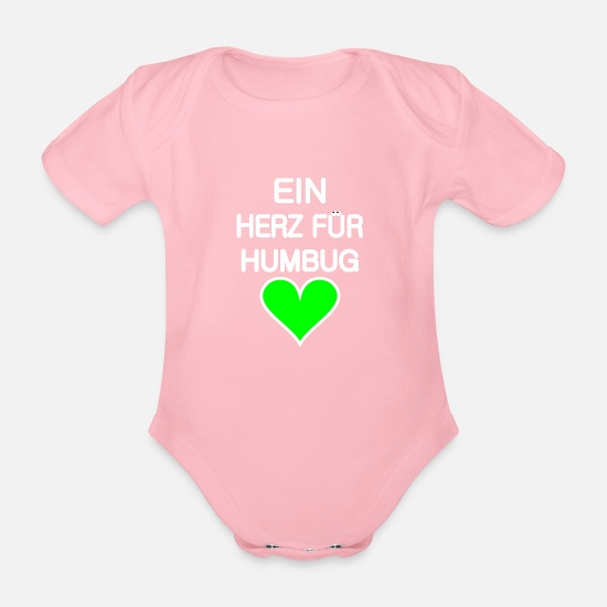 Poser Baby Clothes - A heart for humbug green-for dark backgrounds - Organic Short-Sleeved Baby Bodysuit light pink