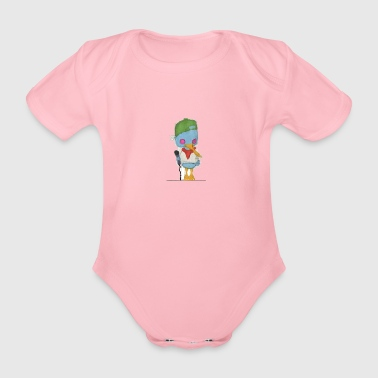 Hiphop duck - Organic Short-sleeved Baby Bodysuit