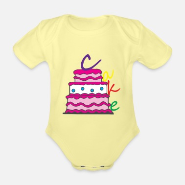 Cake Happy Birthday Birthday Cake - Organic Short-Sleeved Baby Bodysuit