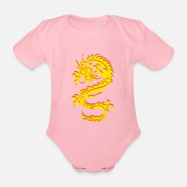 Chinese Dragon Dragon Tribal Tattoo - Organic Short-Sleeved Baby Bodysuit