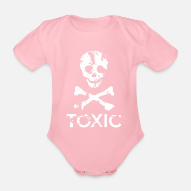 Grungy Grungy Warning Sign – Toxic - Organic Short-Sleeved Baby Bodysuit