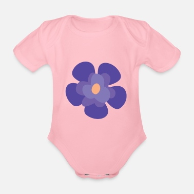 Animal Collection Flower Violet Iris - Organic Short-Sleeved Baby Bodysuit