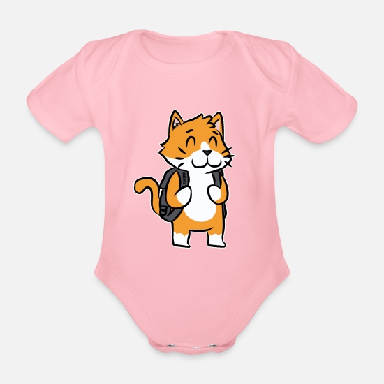 First Grade Baby Clothes - Cat school enrollment kids cartoon gift - Organic Short-Sleeved Baby Bodysuit light pink