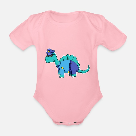 Gift Idea Baby Clothes - Dinosaur Police Officer Uniform Gift - Organic Short-Sleeved Baby Bodysuit light pink