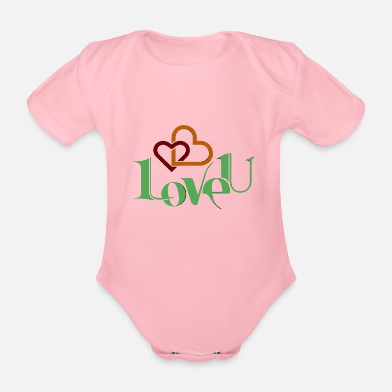 I Love Baby Clothes - I love you nice shirt as a love gift - Organic Short-Sleeved Baby Bodysuit light pink