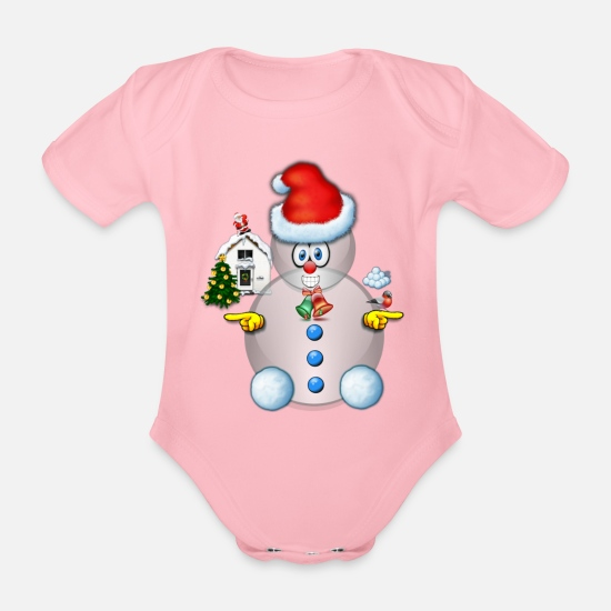 Naughty List Baby Clothes - Snowman Scene 1 with house christmas tree - Organic Short-Sleeved Baby Bodysuit light pink