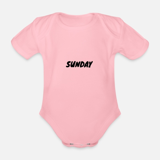 Week Baby Clothes - Sunday - Organic Short-Sleeved Baby Bodysuit light pink