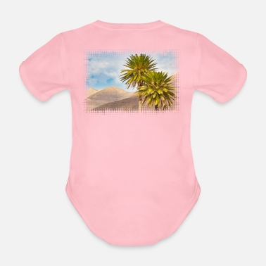 Canary Islands Motif: palm trees in the Jandíamassiv on Fuerteventura - Organic Short-Sleeved Baby Bodysuit