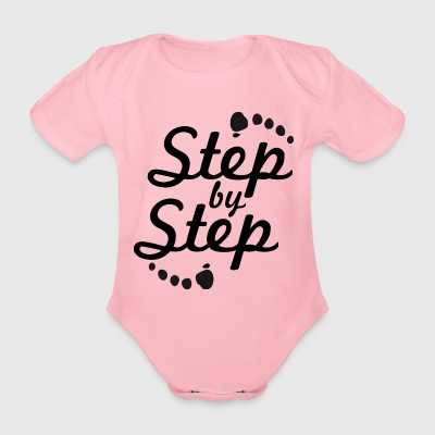 step by step 2 - Organic Short-sleeved Baby Bodysuit