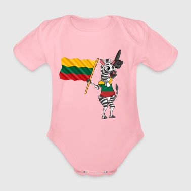 Lithuanian zebra - Organic Short-sleeved Baby Bodysuit