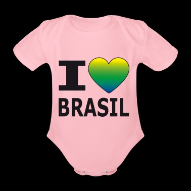 I love Brasil / heart with national colors - Organic Short-sleeved Baby Bodysuit