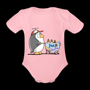 Penguin Ice Cream Vendeur - Ice Cream - Ice Cream - Fun - Body bébé bio manches courtes