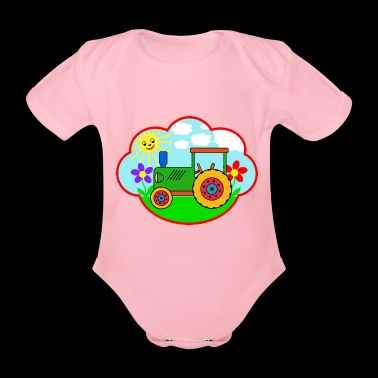 Green Traktot on the meadow - Organic Short-sleeved Baby Bodysuit
