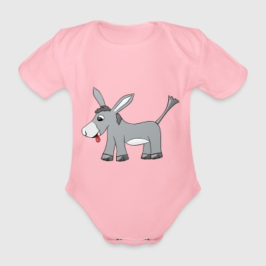 Donkey sticks out his tongue - Organic Short-sleeved Baby Bodysuit
