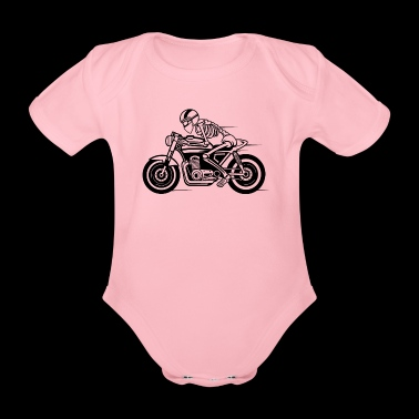 Cafe Racer motorcycle 05_black - Organic Short-sleeved Baby Bodysuit