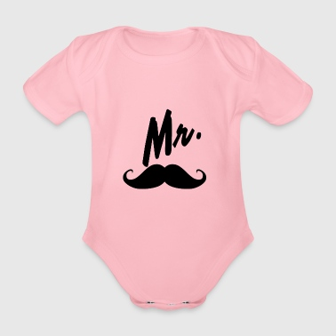Mr with mustache - Organic Short-sleeved Baby Bodysuit