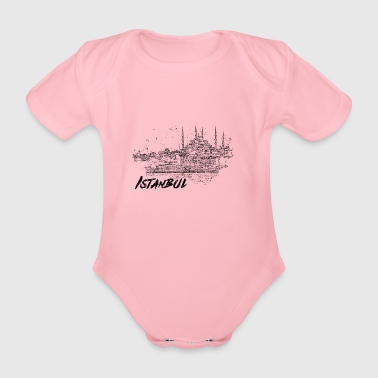 Istanbul - city view sketch - Organic Short-sleeved Baby Bodysuit