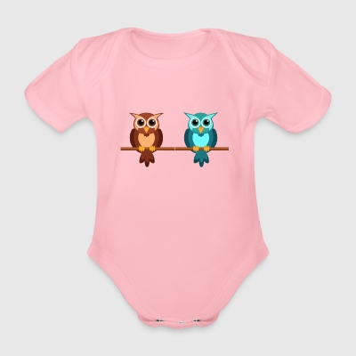 Two owls - Organic Short-sleeved Baby Bodysuit