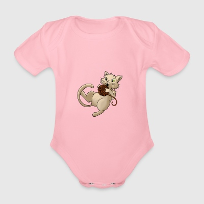 Cat wool ball of wool Kitty Animal Pets - Organic Short-sleeved Baby Bodysuit