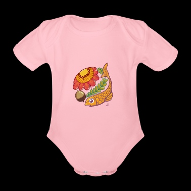 Fish and autumn flower - Organic Short-sleeved Baby Bodysuit