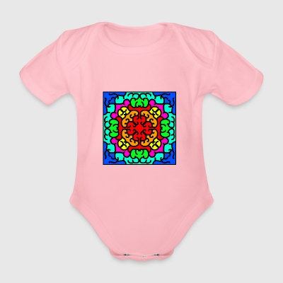 Colorful digital stained glass window - Organic Short-sleeved Baby Bodysuit