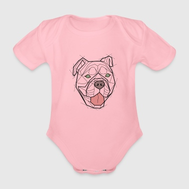 Geometric Bulldog (NB) - Organic Short-sleeved Baby Bodysuit