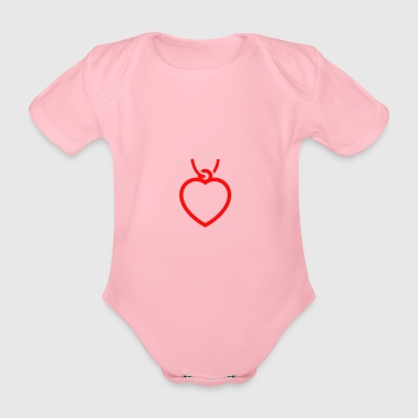heart necklace - Organic Short-sleeved Baby Bodysuit