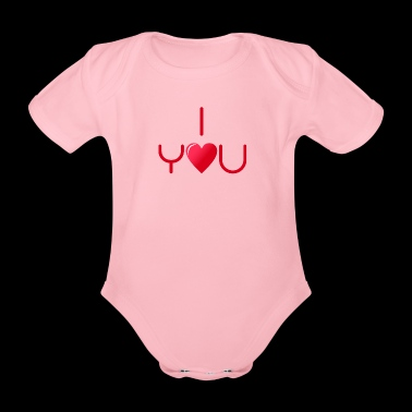 I love you v1 red - Organic Short-sleeved Baby Bodysuit