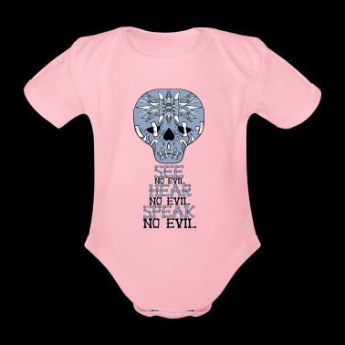 Cute Skull No Evil - Organic Short-sleeved Baby Bodysuit