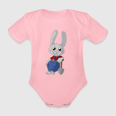 Hardworking cartoon easter bunny - Organic Short-sleeved Baby Bodysuit