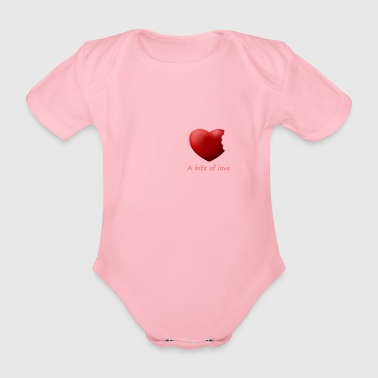 Heart bite of love. Nice and cute design - Organic Short-sleeved Baby Bodysuit