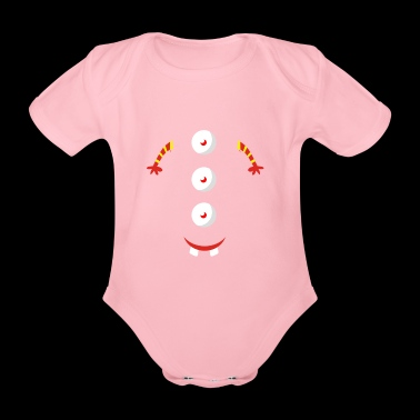 3 eyed button design - Organic Short-sleeved Baby Bodysuit