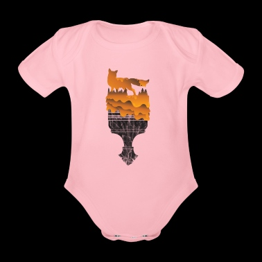 Gift Silhouette Fox Wolf Forest Hunting Wilderness - Organic Short-sleeved Baby Bodysuit